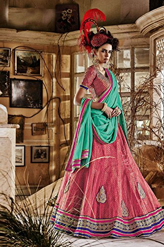 IWS Womens Pink Striking Lehenga Choli With Lace Work 79942