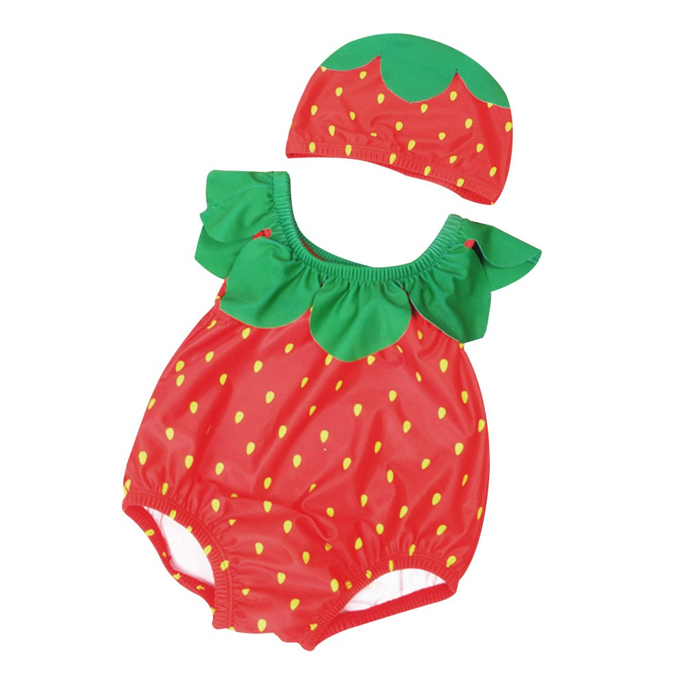 Mukola Baby One Piece Pineapple Swimsuit Hat Set Cute Fruits Bathing Suit Romper