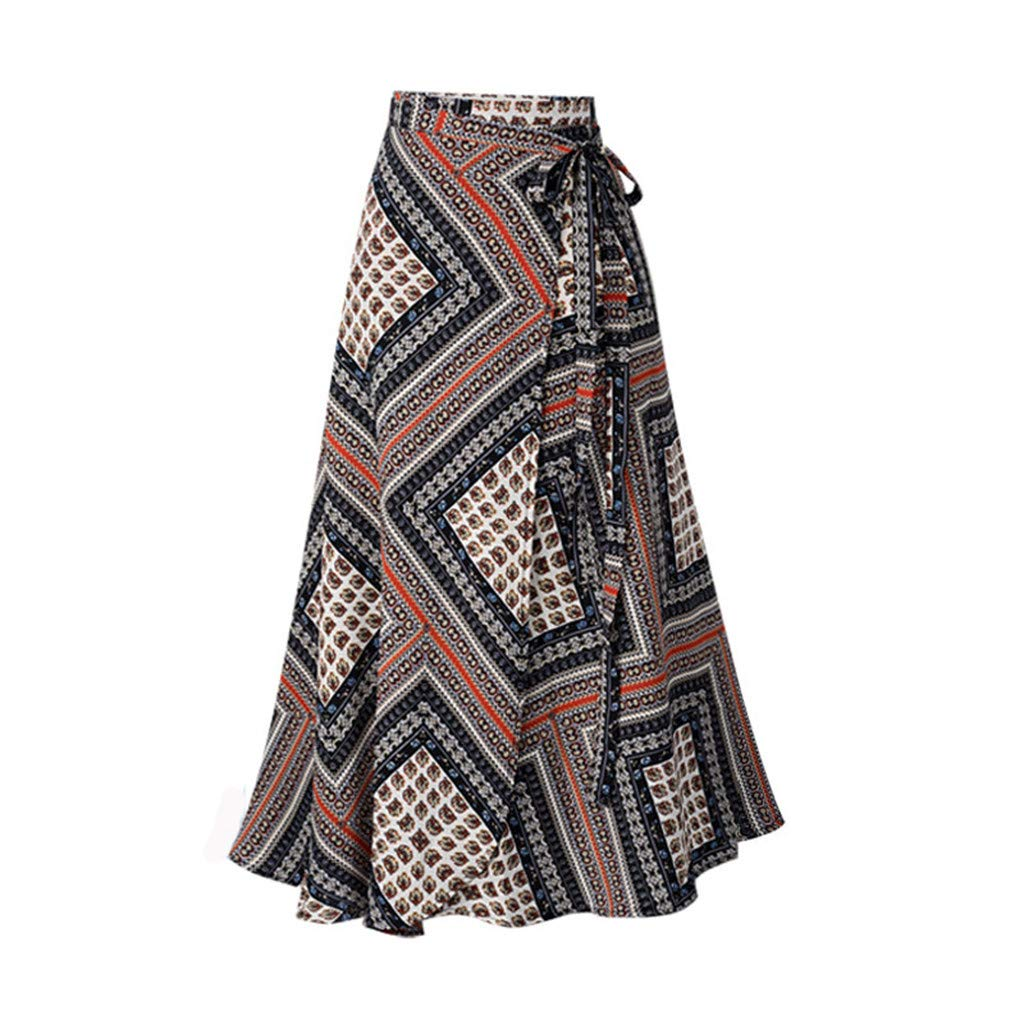〓COOlCCI〓Women's Long Bohemian Hippie Skirt Boho Dresses Asymmetric Hem Design Vintage Long Maxi Skirt Red