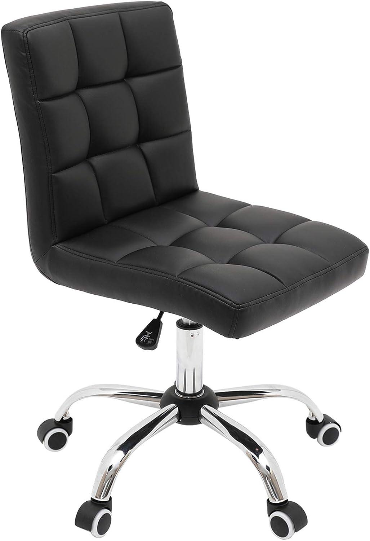 Armless Desk Chair Home Office Chair, Mid Back PU Leather Task Chair Adjustable Swivel Computer Chair Vanity Chair Beauty Salon Chair