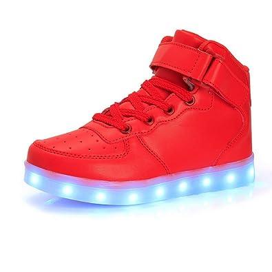 Kinder Jungen Mädchen LED leuchten Schuhe Hochgeschnittene Turnschuhe Lässige Schuhe (EU26 Kinder-Fuß Länge:16.5cm, Silber)