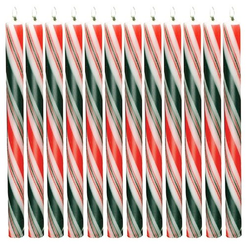 Striped Taper Candles (Biedermann & Sons Holiday Striped Taper Candles, 12-Inch, Box of 12)