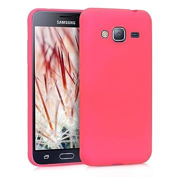 kwmobile Funda para Samsung Galaxy J3 (2016) DUOS - Carcasa para móvil en [TPU Silicona] - Protector [Trasero] en [Rosa neón]