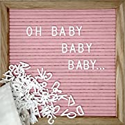 Pink Changeable Letter Board Set with 10 x 10 Inch American Oak Frame, Pink Felt, 370 Letters and Emojis, Wall Hook, Bag and Scissors - Perfect Message Sign for Girl Baby Shower Decorations