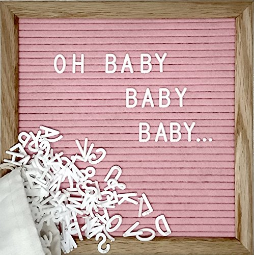 Pink Changeable Letter Board Set With 10 x 10 inch American Oak Frame, Pink Felt, 360 Precut Letters and Emojis, Wall Hook and Bag - Perfect Message Sign For Girl Baby Shower Decorations -