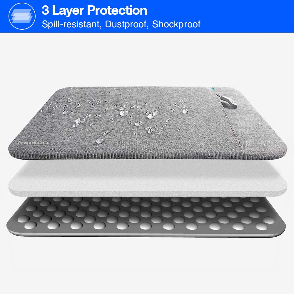 tomtoc 360° Protective Laptop Sleeve Compatible with13 inch New MacBook Pro A1989 A1706 A1708 USB-C | Dell XPS 13, Notebook Bag Case 13'' with Accessory Pocket & CornerArmor Patent by tomtoc (Image #4)