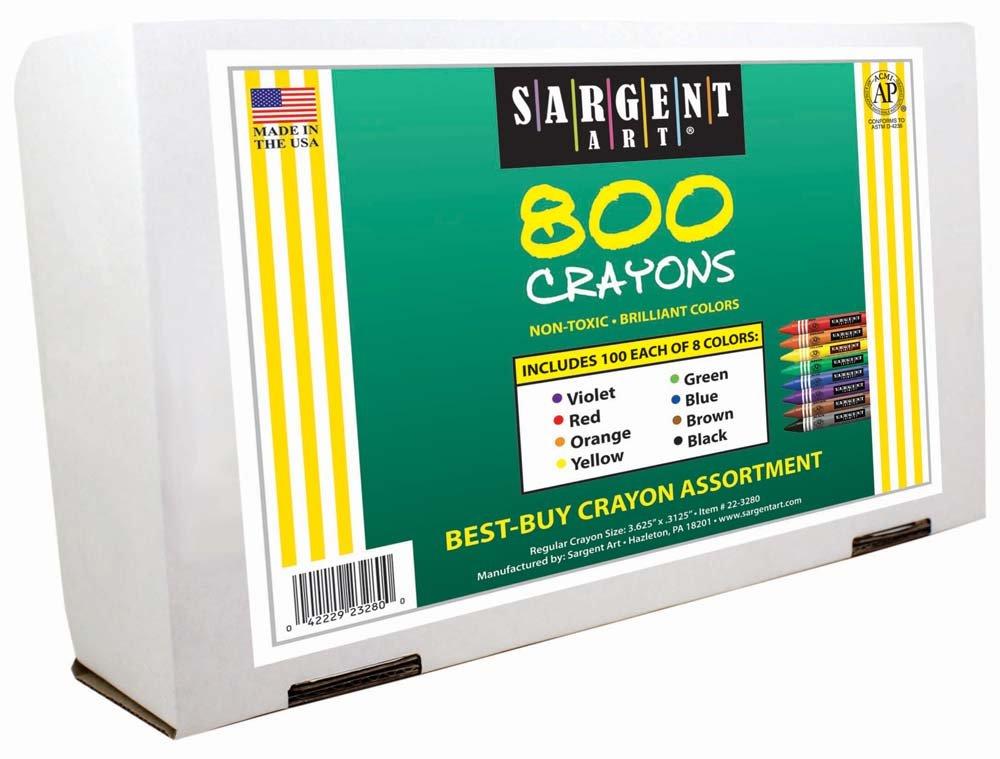 Sargent Art 800-Count Regular Crayon Class Pack 22-3280 Best Buy Assortment