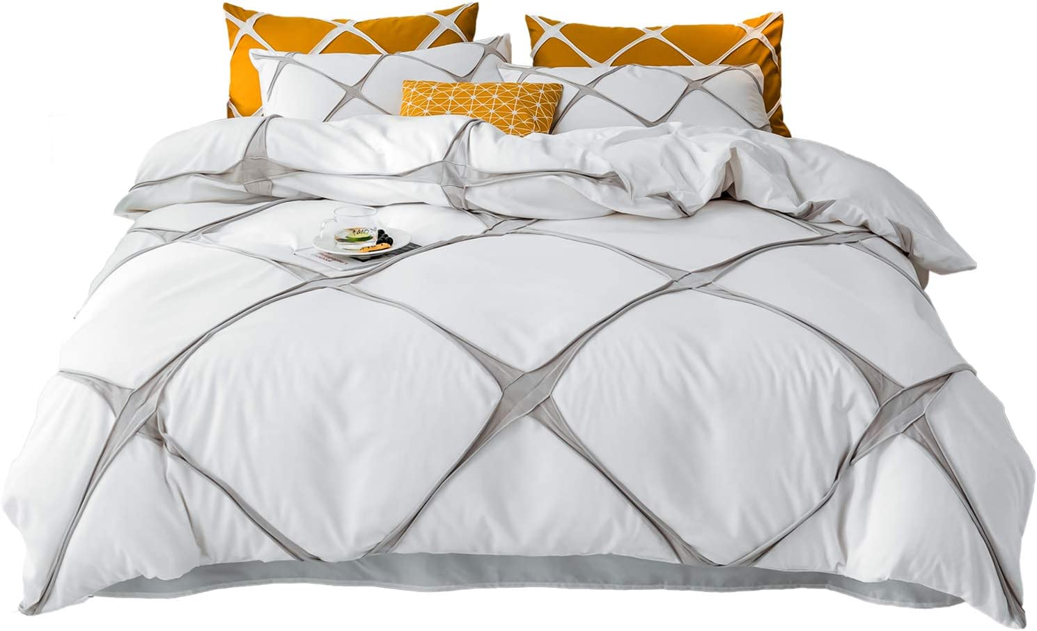 Duvet Cover 3 Piece Set - Minimalist Style Plaid Bedding Collection - Minimalist Style Plaid Comforter Cover with Zipper Closure and 2 Pillow Shams, White - Queen 90
