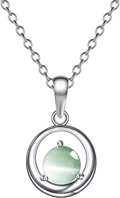 Amazon Com Onairmall S925 Sterling Silver Necklace Platinum Plated Cat Eye Gemstone Pendant Necklace Best Gift For Girls Jewelry