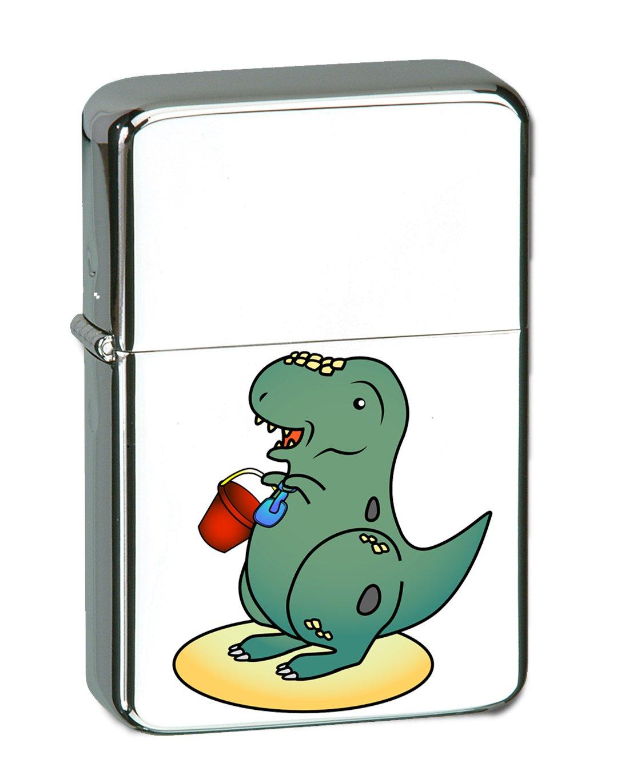 Hat Shark Baby T-Rex Dinosaur Playing at the Beach by the Ocean Fun Cute Vector KGM Thunderbird Vintage Lighter - High Polish Chrome Finish
