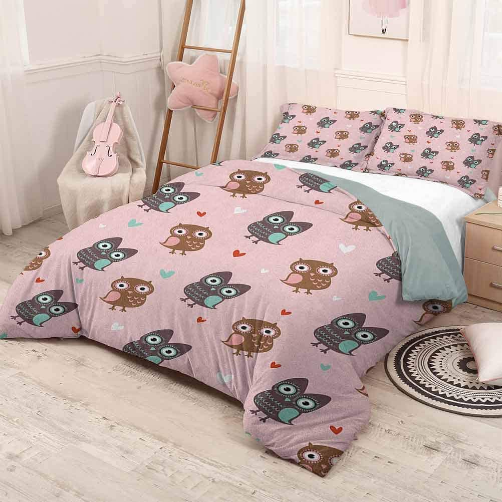 prunushome Nursery Bedding-Sets Duvet CoverLove Owls with Mini Valentines Hearts Surrounding Them on a Rose Print Comfortable Bedding Sets 3Pcs Piece Suit Rose Brown Dried Rose Full