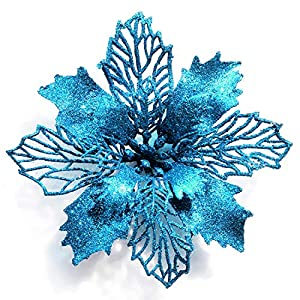 "GL-Turelifes Pack of 12 Glitter Artificial Poinsettia Flowers Christmas Wreath Christmas Tree Flowers Ornaments 6""(16cm) Diameter with 12 Pcs Green Soft Stings (Lake Blue)"