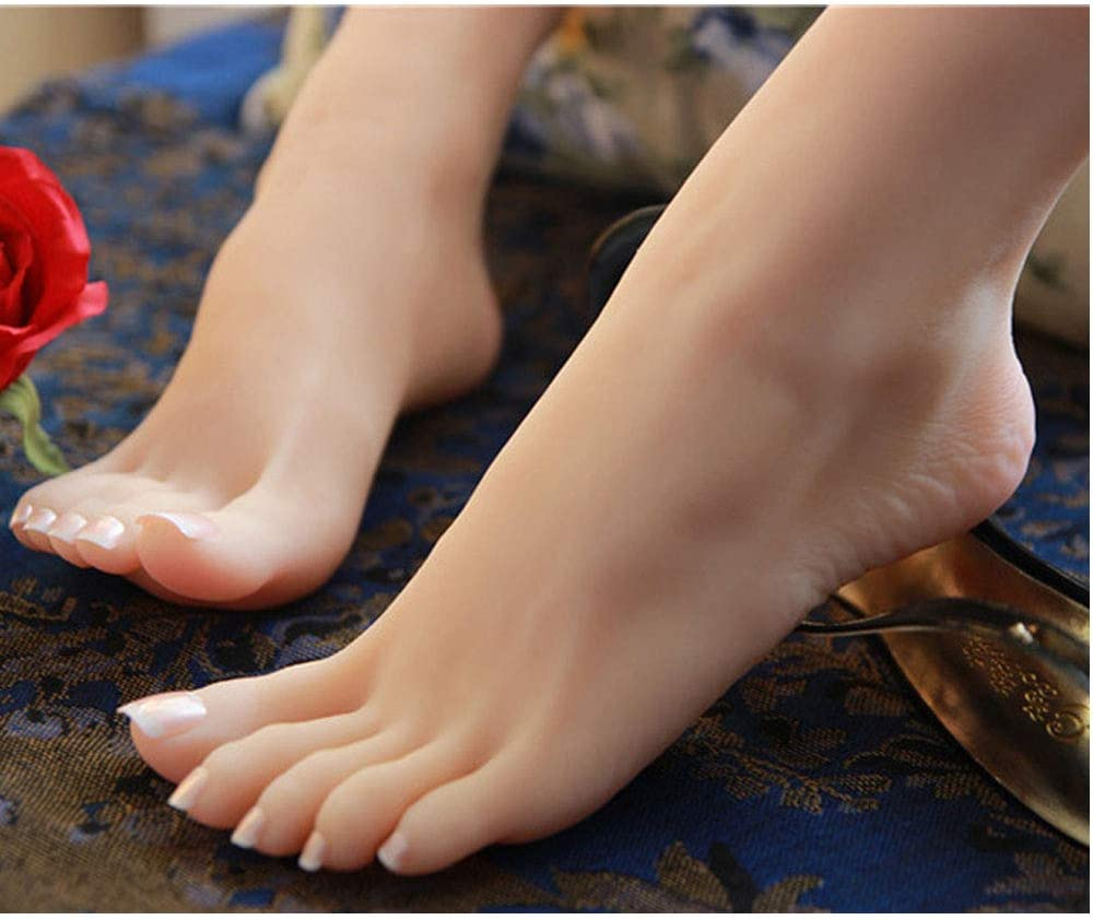 Footwear and Socks to Display Artwork Sketches Sandals 1 Pair of Silicone Model Feet-Life-Size Model of Girls Feet Used for Jewelry