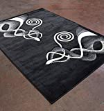 Homemusthaves Super Soft Swirls Floral 3-Dimentional Modern Contemporary Polyester Area Rug Carpet Living Room Bedroom Rug Carpet Floor Hand Carved Rug Carpet (2'x7'2″, Black) For Sale