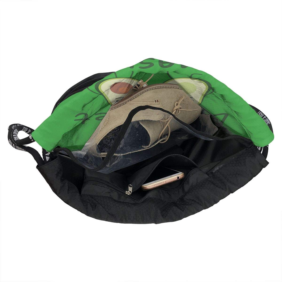 Fashion Outdoor Zipper Drawstring Bag Avocado Lets Get Smashed Printed Bundle Backpack Unisex Multi-Function Backpack