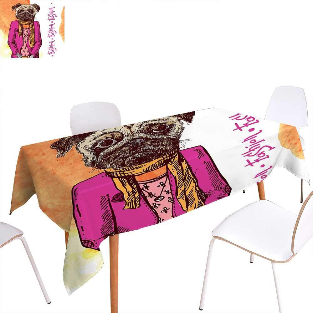 パグ 長方形テーブルクロス 犬 様々な州 座った姿勢 ストレッチ キュート カートゥーン スタイル ペット 図画 長方形 しわ防止 テーブルクロス ターコイズ W50