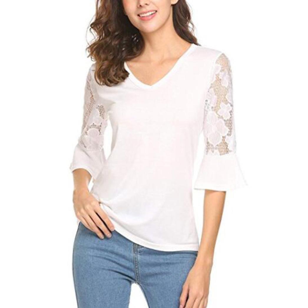 3a60c5da24b4 Longra Tee Shirt Femme Fille Chic Col V Dentelle Ajourée Slim Fit Chemisiers  et Blouses Tops à Manches Longues ...
