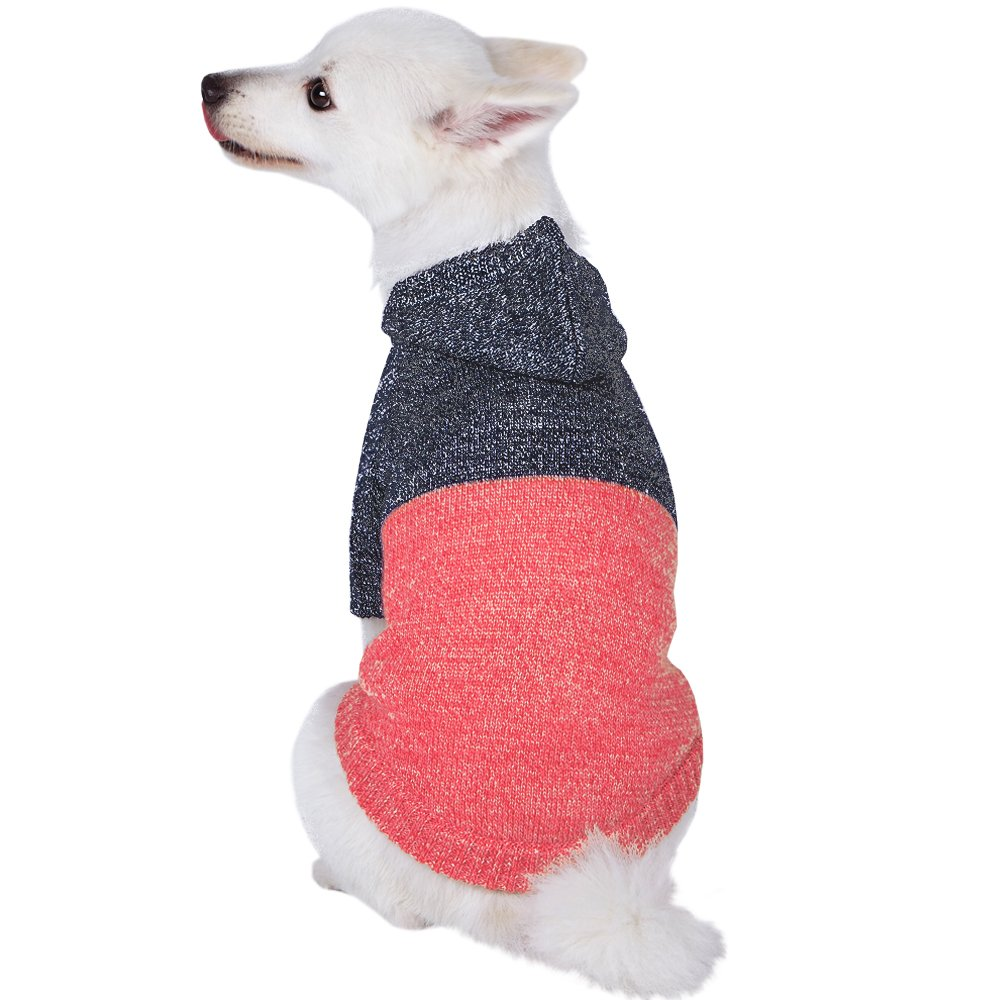 Blueberry Pet Winter Symphony Marled Color-Block Knitted Unisex Designer Hooded Dog Sweater, Back Length 20'', Pack of 1 Clothes for Dogs