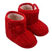 Orangeskycn Winter Boots Baby Girl,Baby Bowknot Soft Sole Winter Warm Shoes Boots (3-6 Months, Red)