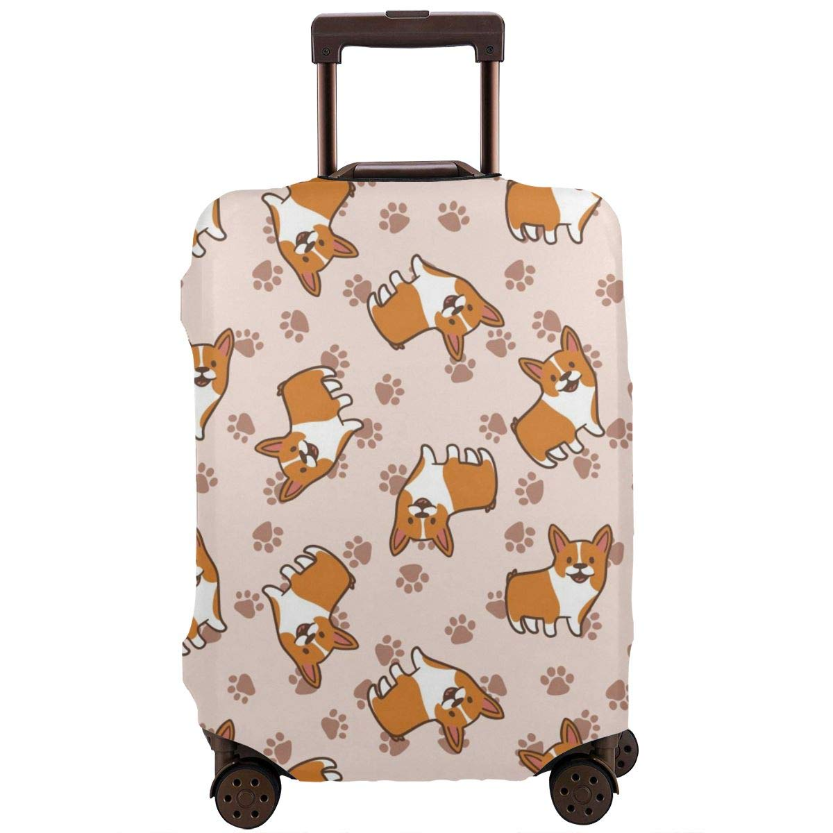 Cute Corgi Paw Print Travel Luggage Cover Suitcase Protector Washable Zipper Baggage Cover