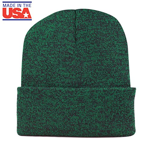 THE HAT DEPOT 1800F902 Made In USA Unisex Two Tone Cuff Beanie Skull Cap (Green-Black) Green Day Black Beanie