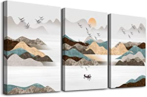 3 Piece framed Canvas Wall Art for living room Office kitchen bathroom Wall Decor wall Artwork Home Decor Abstract Mountain The sun landscape painting Poster hotel bedroom Decorations Pictures