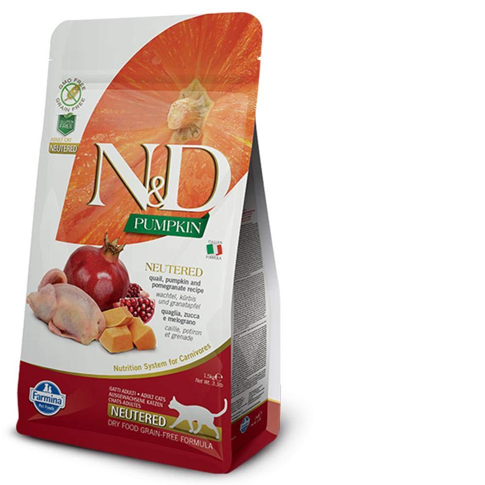 Farmina - Farmina N&D Calabaza y Codorniz Neutered Cat Grain Free - 2354 - 1,5 Kg.: Amazon.es: Productos para mascotas