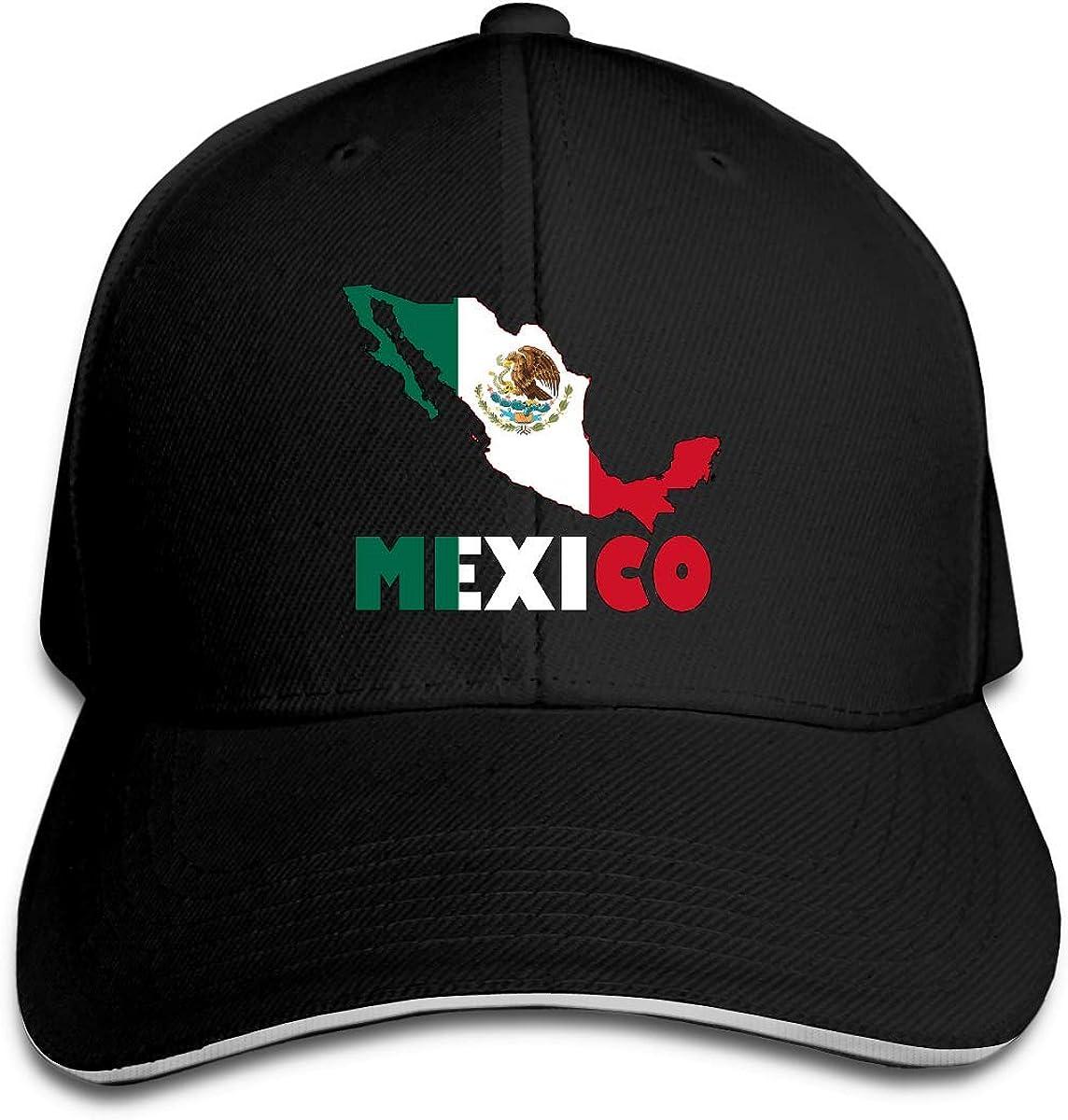 Casquette de Baseball pour Hommes et Femmes Mexique Carte Drapeau Coton Chapeau De Camionneur R/églable R/étro Sports Fan Casquettes Noir DIY 18795
