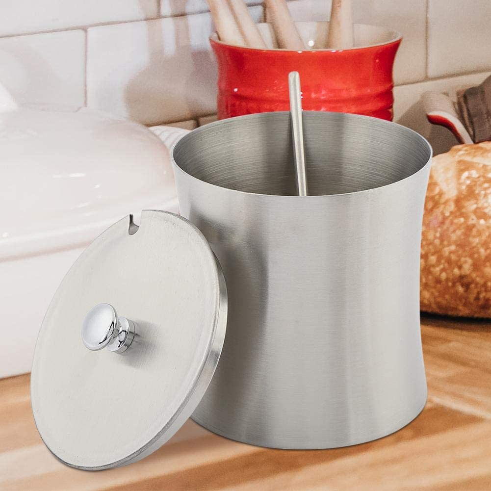 304 Stainless Steel Sugar Bowl Spice Salt Pepper Seasoning Condiment Pot Jar with Cover Spoon