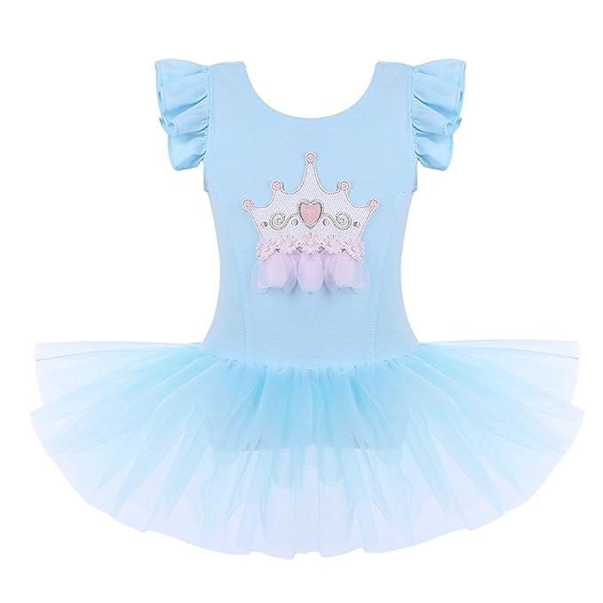 CHICTRY Vestido de Danza Tutú Niña Maillot Ballet Vestido de Princesa con Bragas Interior Falda Tul