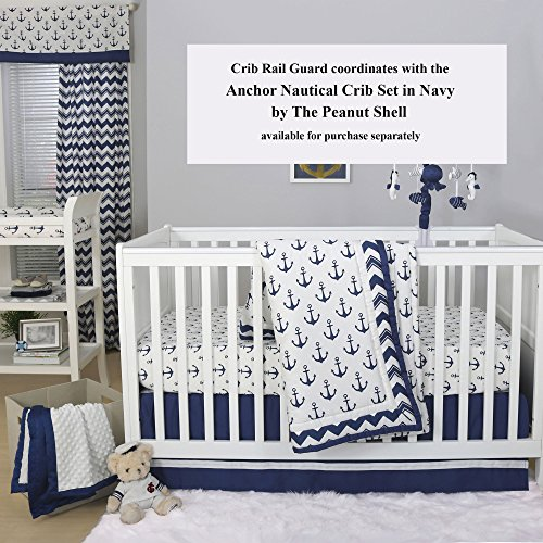 Navy Blue and White Nautical Cotton Padded Crib Rail Guard by The Peanut Shell by The Peanut Shell (Image #1)