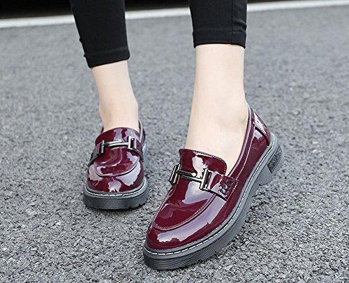 Femme Robe Oxford Chaussures En Cuir Slip Sur Des Chaussures Plates Par Jiye Red