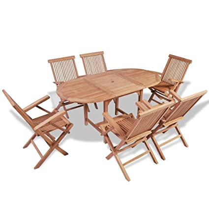 Amazon Com Outdoor Patio Teak Dining Set 6 Chairs And 1 Dining