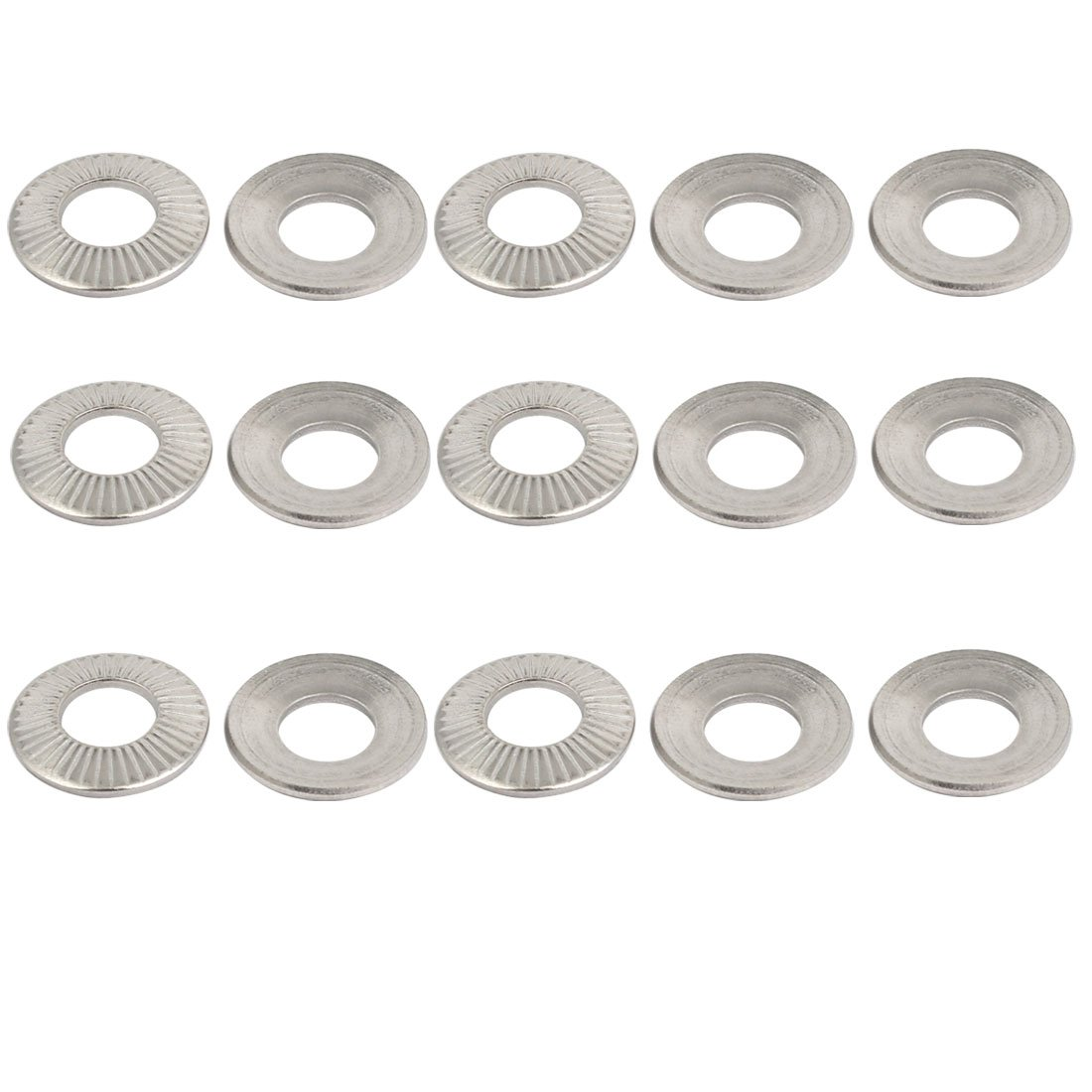 uxcell M8 304 Stainless Steel Industrial Locking Washer Silver Tone 15pcs