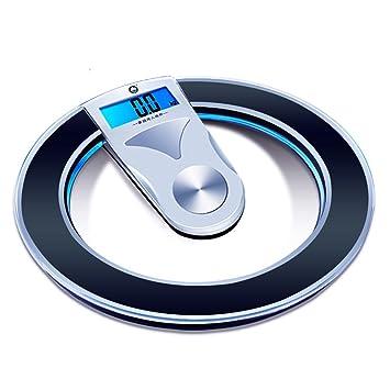 AI XIN SHOP Básculas de pesaje electrónicas domésticas Redondas, Figuras de la Pantalla LCD, Vidrio Templado (Color : Negro): Amazon.es