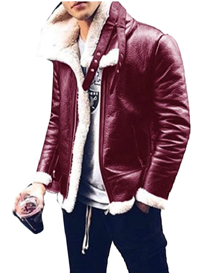 desolateness Mens Winter Jacket Bomber Jacket Shearling Leather Coat