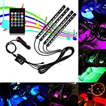 Guaiboshi Car LED Light Strips 4PCS 48leds DC 12V Multicolor Interior Atmosphere Lights/Auto Underdash Lighting Kit with Music Sound Active Sensor and Remote Control, Car Direct Charge