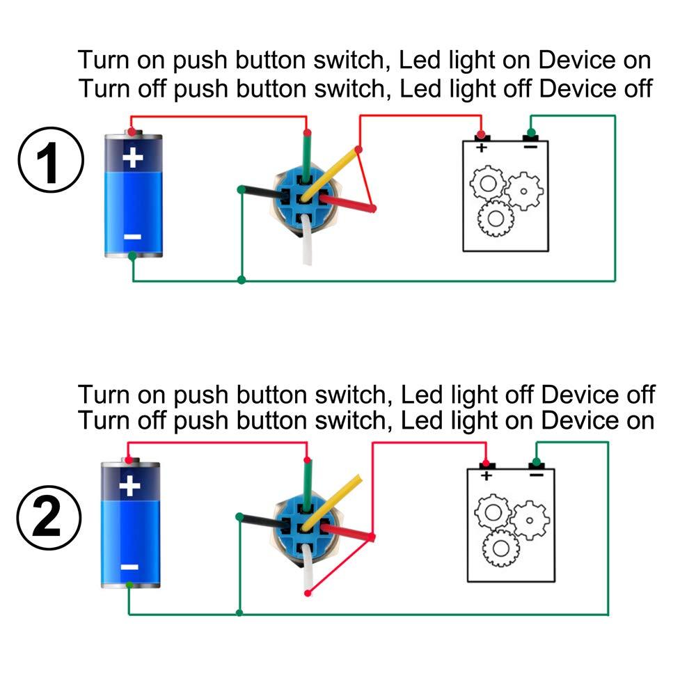 LED Azul Gebildet 19mm Enclavamiento Pulsador de Bot/ón Met/álico No-Moment/áneo Interruptores Acero Inoxidable Impermeable Plana Top ON//Off 12V-24V 5A Pulsador con Enchufe de Cable