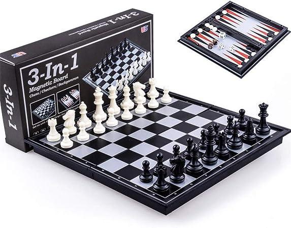 Kanqingqing Juego de Mesa de Viaje Ajedrez Backgammon Damas Magnético Set Juego de Mesa Plegable 3-en-1 Ruta Internacional de Ajedrez Negro para niños y Adultos (Color : Black+White, Size : S): Amazon.es: