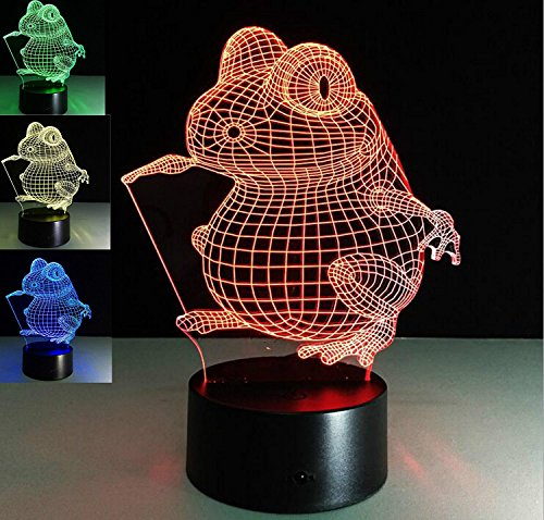 - SUPERNIUDB 3D Cartoon Frog 3D Night Light 7 Color Change LED Table Lamp Xmas Toy Gift