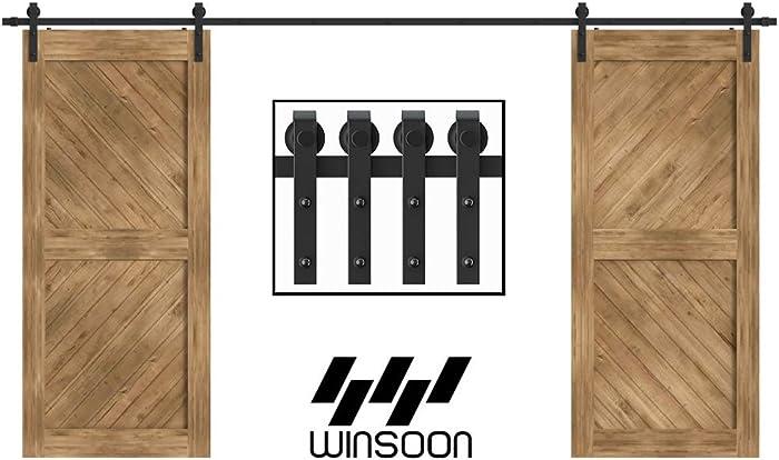 "WINSOON 5-18FT Sliding Barn Wood Door Hardware Cabinet Closet Kit Antique Style for Double Doors Black Surface (15FT /180"" 2 Doors Track Kit)"