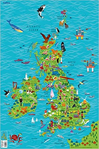 Interactive Map Of Ireland For Kids.Children S Wall Map Of The United Kingdom And Ireland Amazon Co Uk