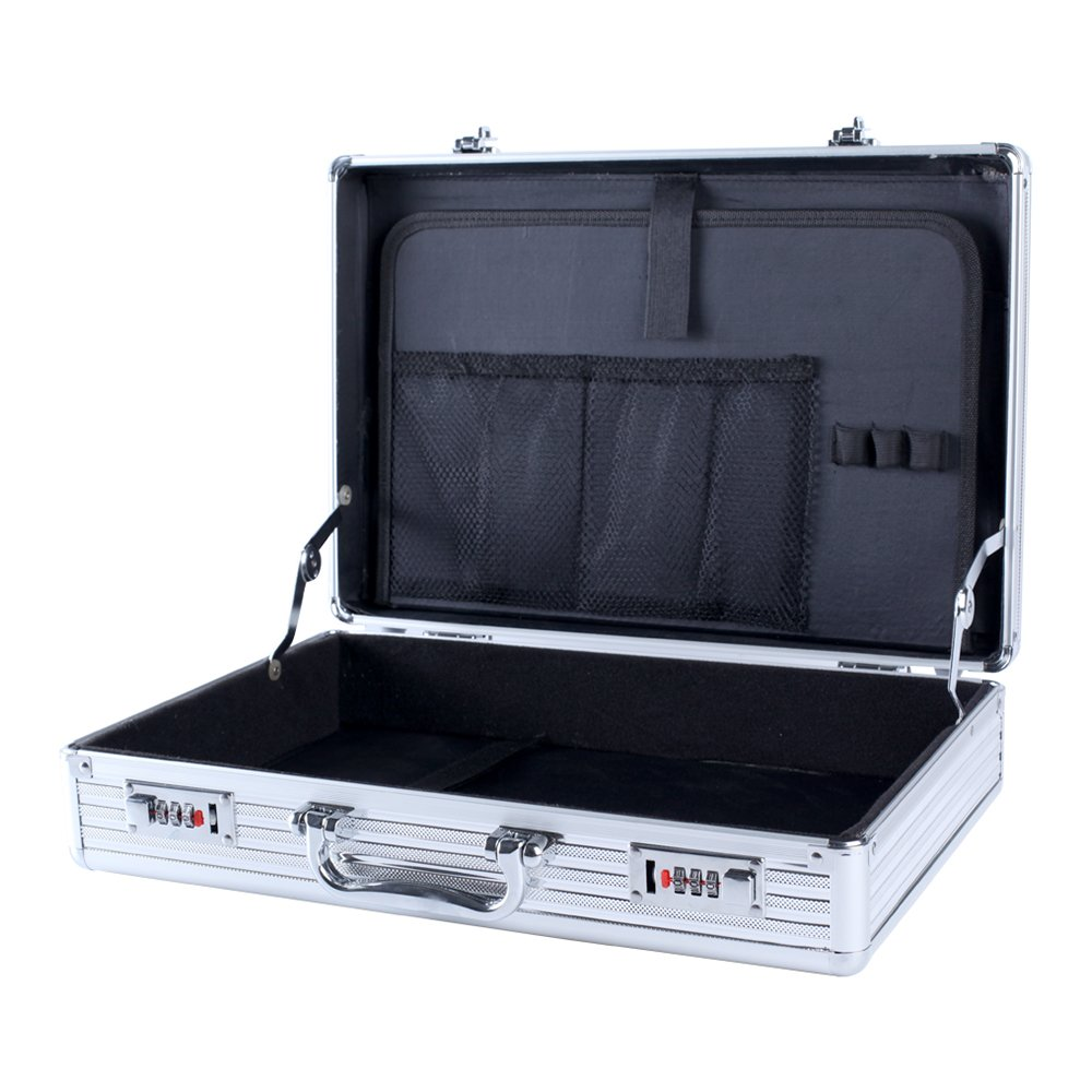 Aluminum Attaché Case, 16.7 Inch Laptop Case, Travel Briefcase with Organizer, Flight Case Toolbox Storage Secure Box with 2 Combination Locks FL 421 (Silver) by Kanaite