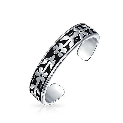 Bling Jewelry Adjustable Flower Band Toe Ring 925 Silver Daisy Midi Rings r4HUabBI