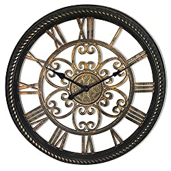 Westclox 32949BK Ornamental Decorative See-Through Wall Clock, 19.5, Brown