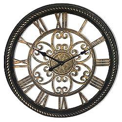 Westclox 32949BK Ornamental Decorative See-Through Wall Clock, 19.5, Brown