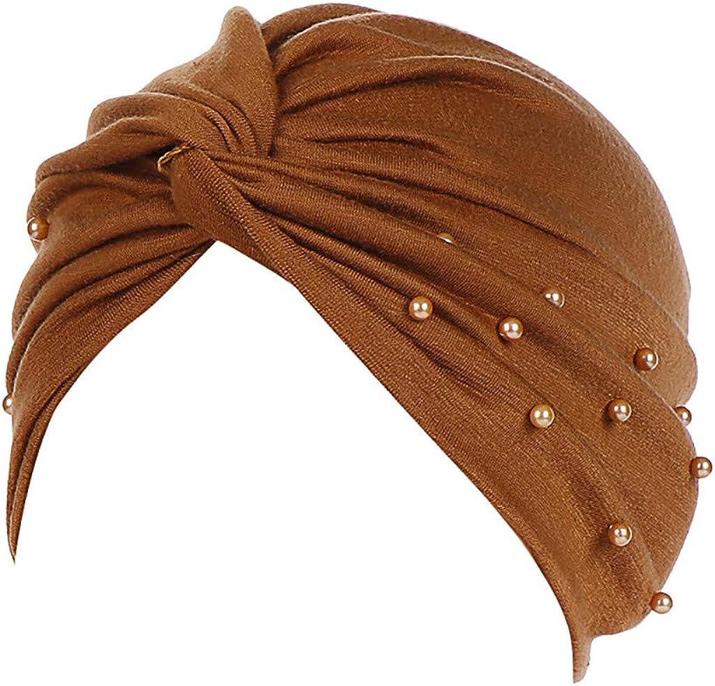 Lazzboys Wrap Cap Frauen Solide Friesen Indien Hut Muslim R/üschen Chemo Beanie Turban