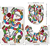 3 Piece Bathroom Mat Set,Board-Game,Game-on-Notebook-Paper-Kids-and-Building-School-Route-Fun-Challenge-Enjoyment-Decorative,Multicolor.jpg,Bath Mat,Bathroom Carpet Rug,Non-Slip