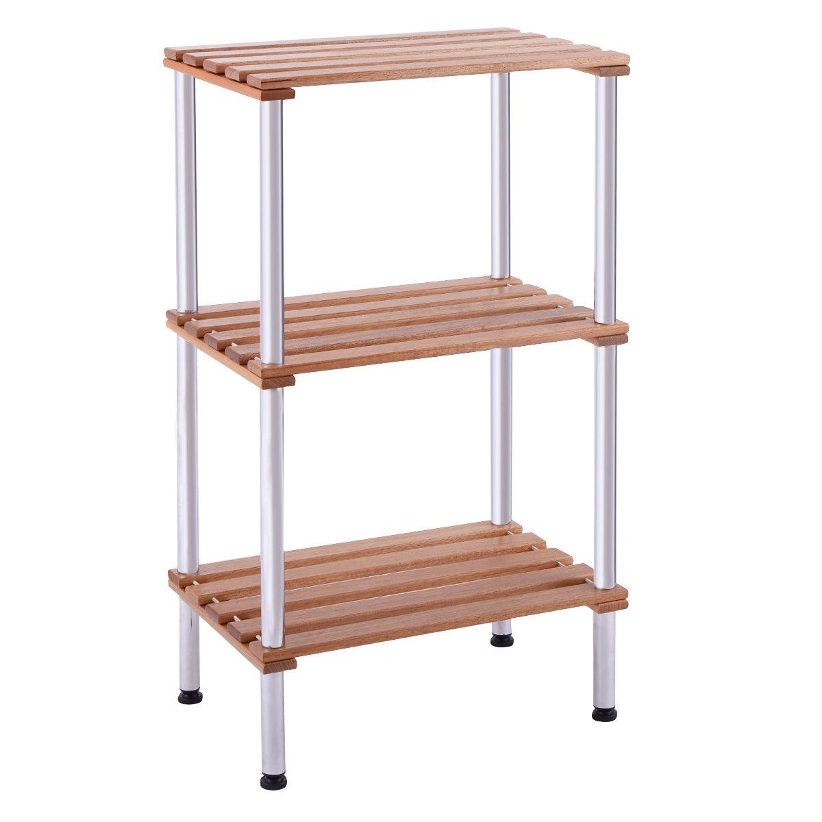 Giantex 3 Tiers Wood Slat Storage Display Rack Shelves Steel Frame Home Office Furniture (3 Tiers)