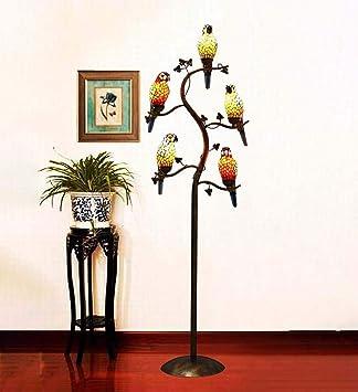 FJX Lámpara de pie estilo rama de árbol de loro de 5 luces, luz de pie